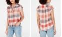 Lucky Brand Cotton Plaid Cuffed-Sleeve Shirt