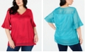 NY Collection Plus Size Mesh Ruffled-Cuff Top