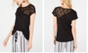 INC International Concepts I.N.C. One-Shoulder Lace Short-Sleeve Top, Created for Macy's