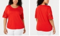 Charter Club Plus Size Cotton Mesh-Appliqué Top, Created for Macy's