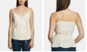 1.STATE Lace-Trim Wrap-Front Top