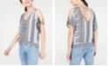 BCX Juniors' Split-Sleeve Printed Top