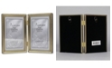 """Lawrence Frames Antique Brass Hinged Double Picture Frame - Bead Border Design - 4"""" x 6"""""""