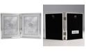 """Lawrence Frames Polished Silver Plate Hinged Double Picture Frame - Bead Border Design - 8"""" x 10"""""""