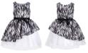 Pink & Violet Little Girls Asymmetrical Zebra-Print Dress