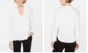 Kasper Tie-Neck Blouson-Sleeve Top