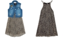 Rare Editions Big Girls 2-Pc. Leopard-Print Shift Dress & Denim Vest Set