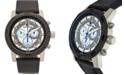 Buech & Boilat Baracchi Men's Chronograph Watch Black Leather Strap, Blue Stitching, White/Grey Dial, Silver Case, 46mm