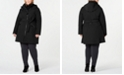 Calvin Klein Plus Size Water Resistant Belted Hooded Raincoat, Created for Macy's