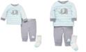Little Me Baby Boys 3-Pc. Cotton Elephant Top, Jogger Pants & Socks Set