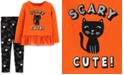 Carter's Toddler Girls 2-Pc. Scary Cat-Print Top & Printed Leggings Set