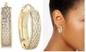 Italian Gold Lattice-Design Oval Hoop Earrings in 14k White Gold and 14k Gold