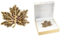 Charter Club Gold-Tone Crystal Maple Leaf Pin, Created for Macy's