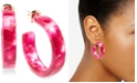 "Zenzii Gold-Tone Acetate Tortoise Shell-Look Medium 1-1/2"" Medium Hoop Earrings"