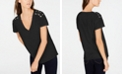 INC International Concepts INC Petite Cotton Crisscross-Trim Grommeted Top, Created for Macy's