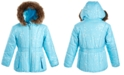 S Rothschild & CO Toddler Girls Hooded Foil-Print Jacket With Faux-Fur Trim