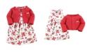 Hudson Baby Dress and Cardigan Set, Strawberries, 2 Toddler