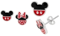 Disney Children's Minnie & Mickey Mouse Mismatched Stud Earrings in Sterling Silver