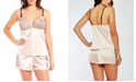 iCollection Contrast-Trim Silky Cami-Set with Eyelash Flower Lace