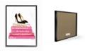 "Stupell Industries Glam Pink Fashion Books Black Pump Hells Framed Giclee Art, 11"" x 14"""