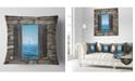"Design Art Designart Window Open To Sailing Boat Seascape Throw Pillow - 18"" X 18"""