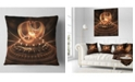 """Design Art Designart Modern Fractal Brown Dom Abstract Throw Pillow - 16"""" X 16"""""""