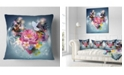 """Design Art Designart Flowers And Dove Abstract Design Floral Throw Pillow - 16"""" X 16"""""""