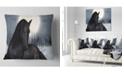 "Design Art Designart Black Horse In Moonlight Animal Throw Pillow - 18"" X 18"""