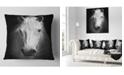 """Design Art Designart White Horse Black And White Animal Throw Pillow - 18"""" X 18"""""""