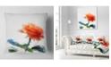 "Design Art Designart Orange Rose Flower With Splashes Floral Throw Pillow - 16"" X 16"""