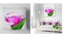 """Design Art Designart Pink Rose Watercolor With Leaves Floral Throw Pillow - 18"""" X 18"""""""