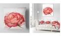 "Design Art Designart Red Rose Illustration With Splashes Floral Throw Pillow - 18"" X 18"""