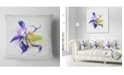 "Design Art Designart Purple Flower With White Petals Floral Throw Pillow - 18"" X 18"""