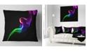 "Design Art Designart Colorful Fractal Fire Design On Black Abstract Throw Pillow - 16"" X 16"""