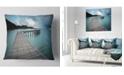 """Design Art Designart Wooden Bridge To Calm Ocean Modern Throw Pillow - 16"""" X 16"""""""