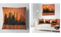 "Design Art Designart Silhouettes Of Manhattan Panorama Throw Pillow - 16"" X 16"""