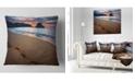"Design Art Designart Trodden Sand On Ocean Beach Seashore Photo Throw Pillow - 16"" X 16"""
