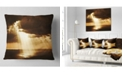 "Design Art Designart Dramatic Sunset With Sunrays Landscape Printed Throw Pillow - 16"" X 16"""