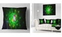 "Design Art Designart Green Fractal Space Circles Abstract Throw Pillow - 18"" X 18"""