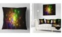 "Design Art Designart Yellow Fractal Space Circles Abstract Throw Pillow - 16"" X 16"""
