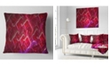 "Design Art Designart Red Fractal Electric Lightning Abstract Throw Pillow - 18"" X 18"""