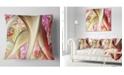 """Design Art Designart Golden Red Fractal Plant Stems Abstract Throw Pillow - 18"""" X 18"""""""