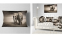 "Design Art Designart Elephant Pair In Motion Animal Throw Pillow - 12"" X 20"""