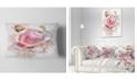 "Design Art Designart Pink Rose Flower With Paint Splashes Floral Throw Pillow - 12"" X 20"""