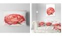"Design Art Designart Red Rose Illustration With Splashes Floral Throw Pillow - 12"" X 20"""