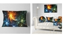 """Design Art Designart Colorful Fireworks With Stars Abstract Throw Pillow - 12"""" X 20"""""""