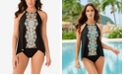 Miraclesuit Samsara Printed Peephole Tankini Top and Swim Bottoms