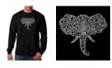 LA Pop Art Men's Word Art Long Sleeve T-Shirt- Elephant Tusks