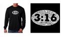 LA Pop Art Men's Word Art Long Sleeve T-Shirt- John 3:16