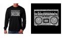 LA Pop Art Men's Word Art Long Sleeve T-Shirt - Greatest Rap Hits of The 1980's